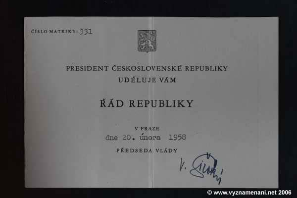 Řád republiky do r. 1960 č. 331 průkaz